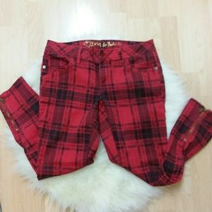 Young Girl's Denim-like red checkered pants